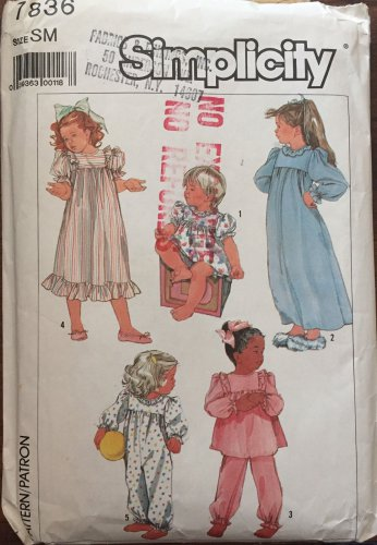 Simplicity Sewing Pattern 7836 Girl Granny Nightgown Pajamas Size 3 Christmas