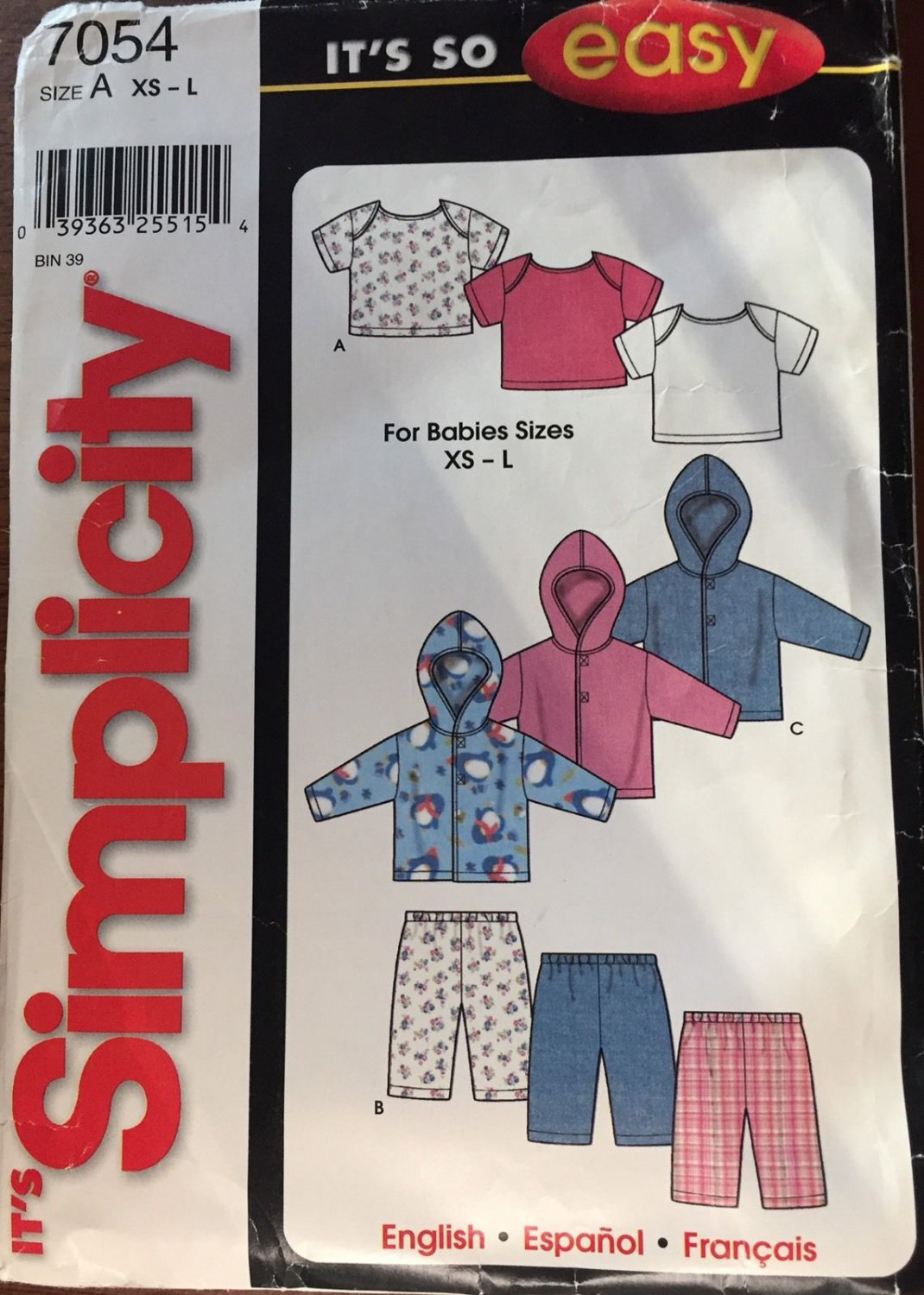 Simplicity Sewing Pattern 7054 Baby Jacket Pants Top XS-L  1-18 m. It's so Easy