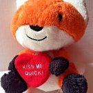 Hallmark Fox Kiss Me Quick Red Heart Orange White Black Plush Stuffed Animal