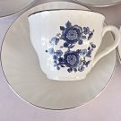 Royal Blue Ironstone Enoch Cup Saucer Wedgwood Tunstall England Coffee Tea