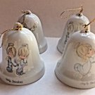 Precious Moments Bell Christmas Ornaments Set of 4 Porcelain 1985 Angle Enesco