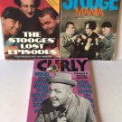 Three Stooges 3 Books Curly Biography Mania Lost Episode Pictures 1980's Vintage