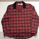 Christmas Blouse Cabin Creek Red Plaid Black Velvet Collar Petite Medium