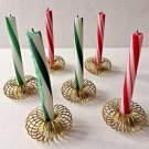 Christmas Peppermint Stick Candles Round Wire Spring Gold Metal Holders Set of 6