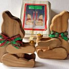 Christmas Around The World Teddy Bear 2 Wood Taper Candle Holders Plaid Bow