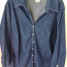 Blouse Dark Blue Denim Style Size 18 20 Loose Snap Front Cuff 3/4 Sleeves Cotton
