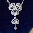 Necklace Chandelier Dangle Long  28 inch drop Silver Tone Jewelry Valentines Day