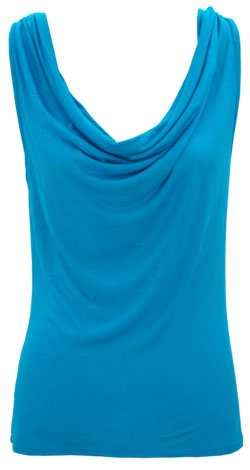 COWL NECK DRAPED KNIT TOP - TURQUOISE