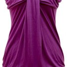 WIDE BANDED GATHERED KNIT TUNIC - PURPLE