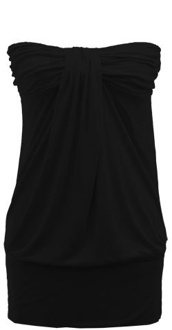WIDE BANDED GATHERED KNIT TUNIC - BLACK