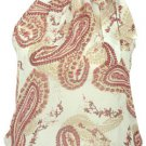 High Collar Chiffon top - Cream/Red Swirl