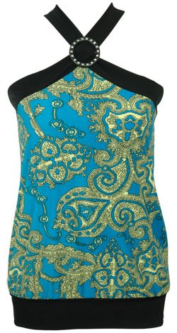Printed Ring Halter Top - Turquoise