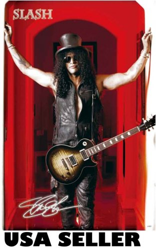 Slash in red doorway poster 23.5 x 34 Guns n' Roses guitarist & SHIP FROM USA