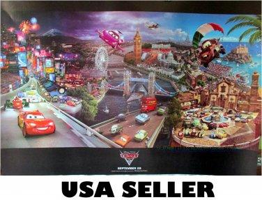 Cars 2 world landmarks Disney Pixar colorful poster 34 x 23.5 repro great gift