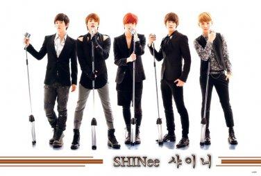 Shinee with old mikes horiz POSTER 34 x 23.5 Korean boy band Taemin Onew Minho