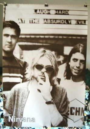 Nirvana poster 21 x 31 Kurt Cobain picking nose goofy Seattle grunge legends