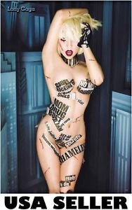 Lady Gaga media plastered nearly nude POSTER 23.5 x 34 & SHIP FROM USA