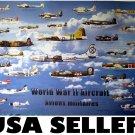 World War 2 aircraft POSTER planes all sides WW II WWII warplanes