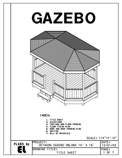 Octagon 8 Sided Oblong Gazebo Building Plans Blueprints 10