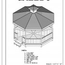 Octagon 8-sided Gazebo building plans blueprints 16' do it yourself DIY