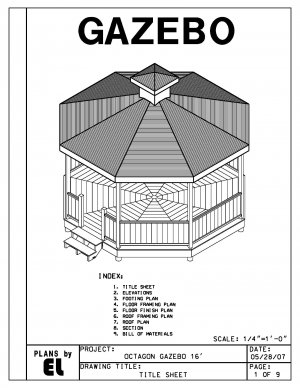 Octagon 8 sided gazebo building plans blueprints 16 39 do it for Gazebo construction details