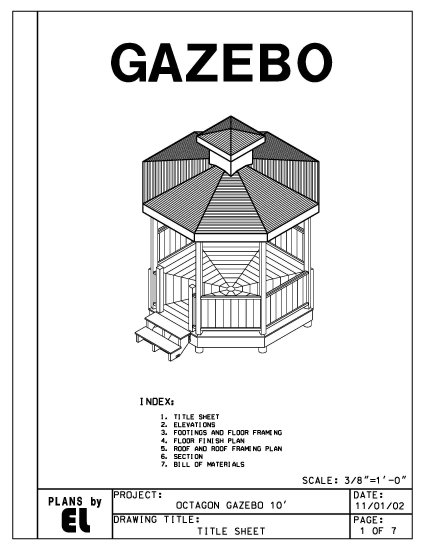 Octagon 8-sided Gazebo building plans blueprints 10' do it yourself DIY