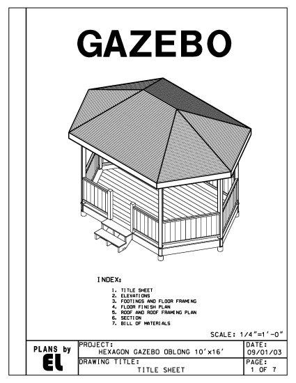 Hexagon oblong 6 sided gazebo building plans blueprints 10 for Home hardware gazebo plans