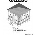 4-sided gazebo Hip Roof building plans blueprints 12' do it yourself DIY