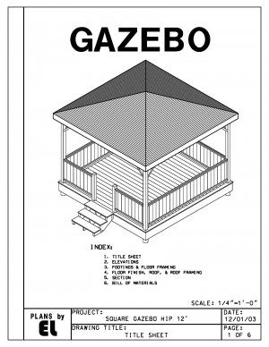 4 sided gazebo hip roof building plans blueprints 12 39 do for Gazebo cost to build