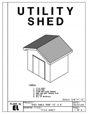10' x 8' Shed with gable roof building plans blueprints do it yourself DIY