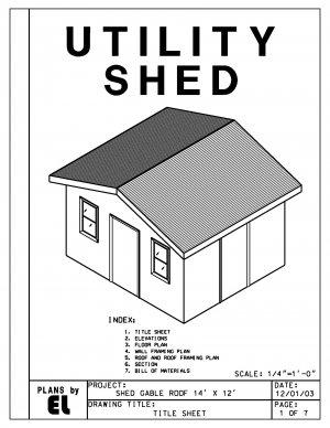 14' x 12' Utility Shed building plans blueprints do it yourself DIY