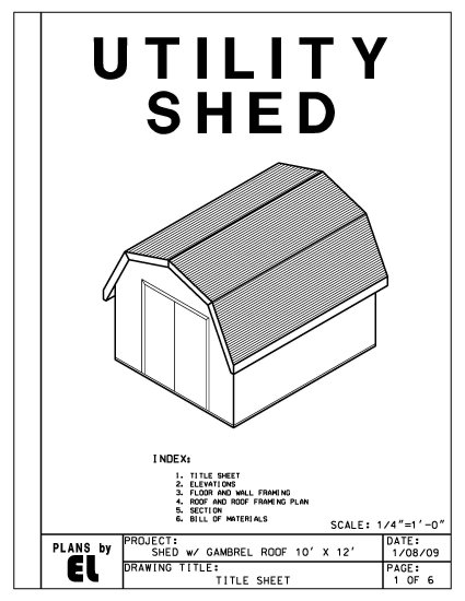 Do It Yourself Home Design: 10' X 12' Gambrel Roof Barn Shed Building Plans Blueprints