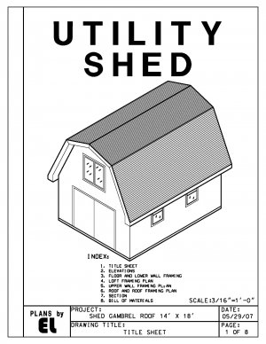 14' x 18' Gambrel Roof Barn Shed building plans blueprints do it yourself DIY