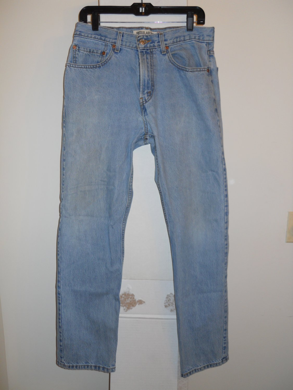 Levi 505 Regular Fit blue denim jeans men's 32x32 torn seat