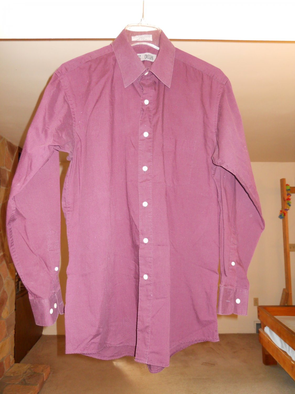 Oleg Cassini men's dress shirt size 15 1/2 32/33 large long sleeve maroon