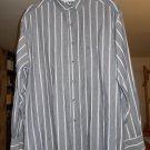 Gitano men's dress shirt size L large long sleeve gray white pinstripe