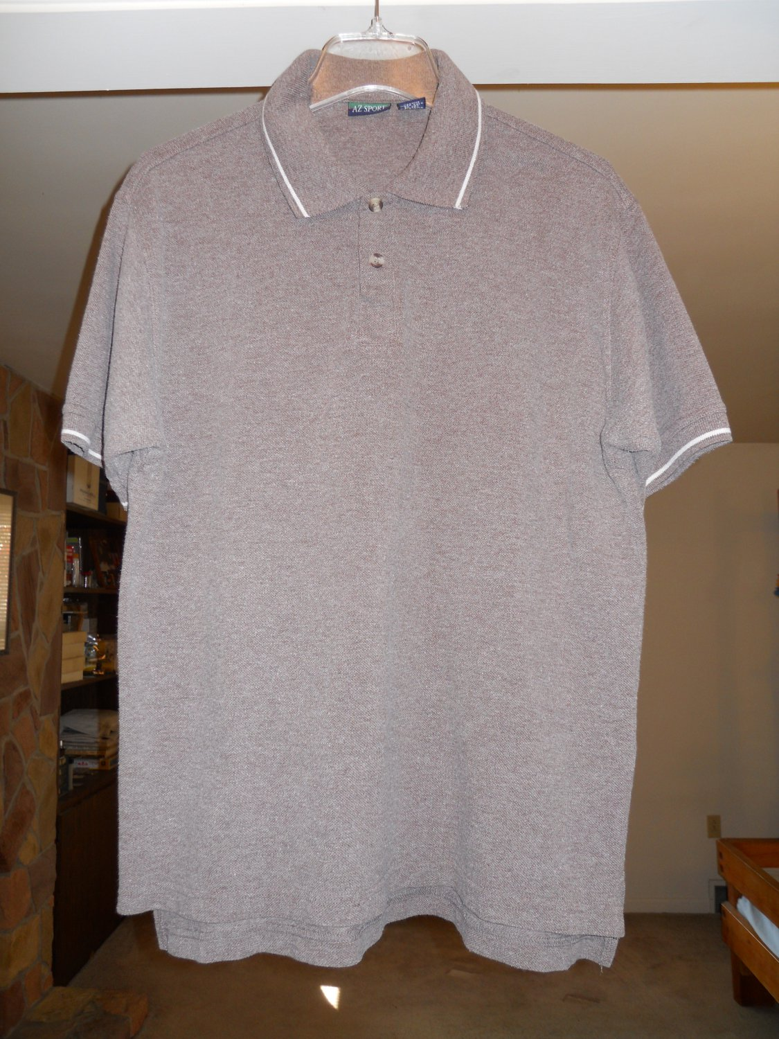 AZ Sport men's casual polo shirt size M Medium short sleeve brown