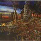 Rivers Edge Cabin Scene Tempered Glass Cutting Board