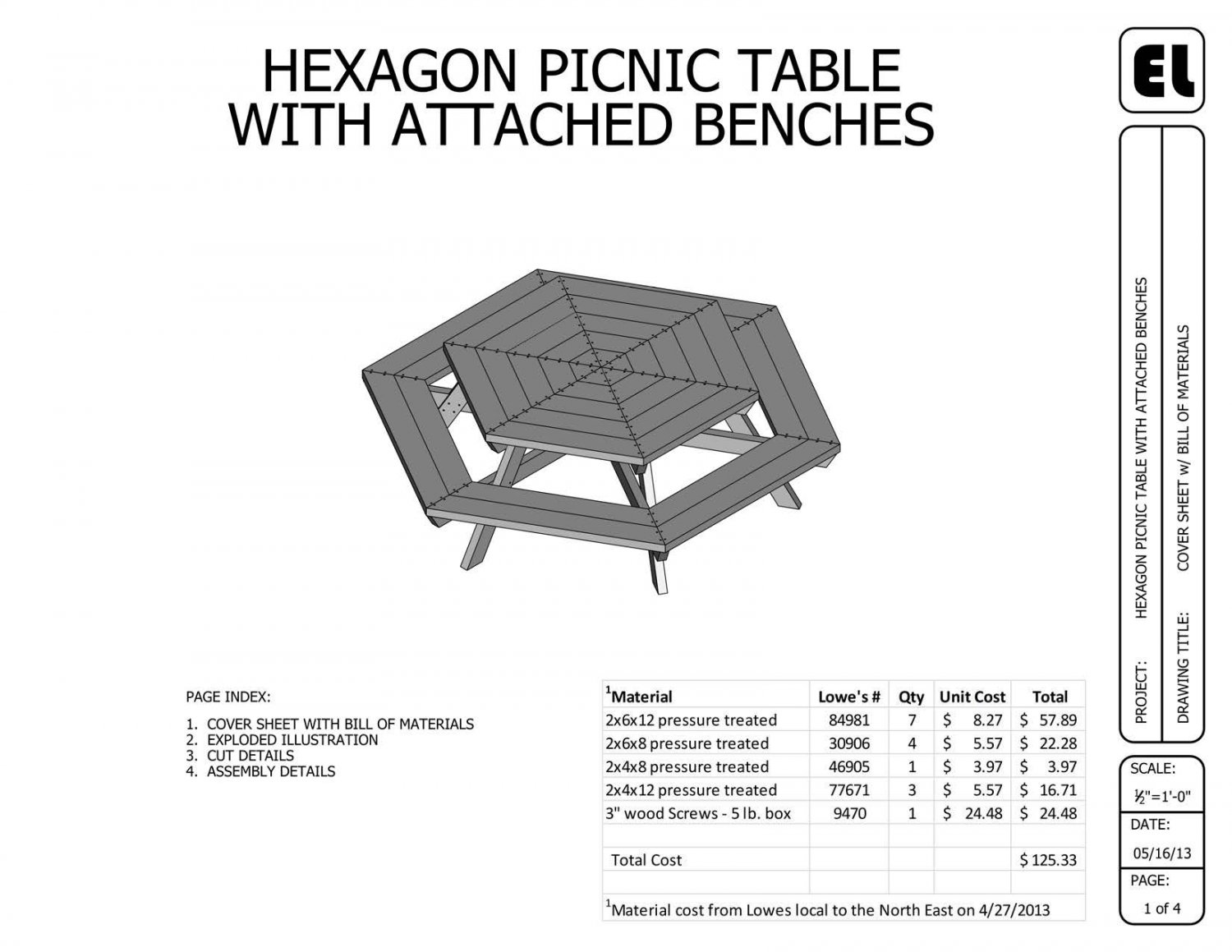 Do It Yourself House Drafting: 5' Hexagon Picnic Table Building Plans Blueprints DIY Do