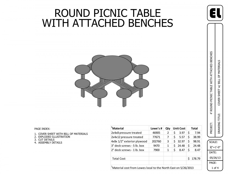 4' Round Picnic Table Building Plans Blueprints DIY Do-It ...