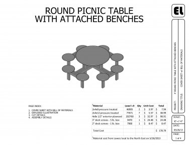 4' Round Picnic Table Building Plans Blueprints DIY Do-It-Yourself !GET THEM FOR FREE!