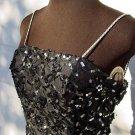 Vintage womens 1980s black beaded sequin drop waist prom dress GLITZY poufy