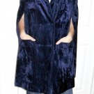 vintage womens clothing chenille blue cape outerwear coat poncho
