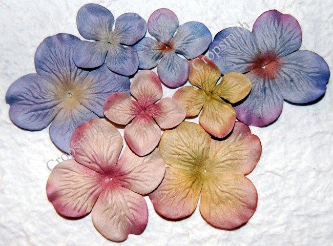 Beach Sand Prima Quick Picks Hydrangeas, Set of 10 Pink, Green, Purple Blue Mulberry Paper Flowers