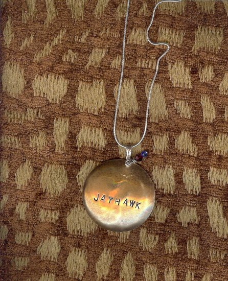 Brass Domed Pendant w/Sterling Silver chain