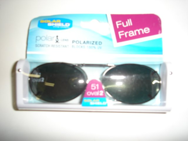 Sunglasses  51 oval 2 Polarized Solar Shield  Clip Ons. NEW