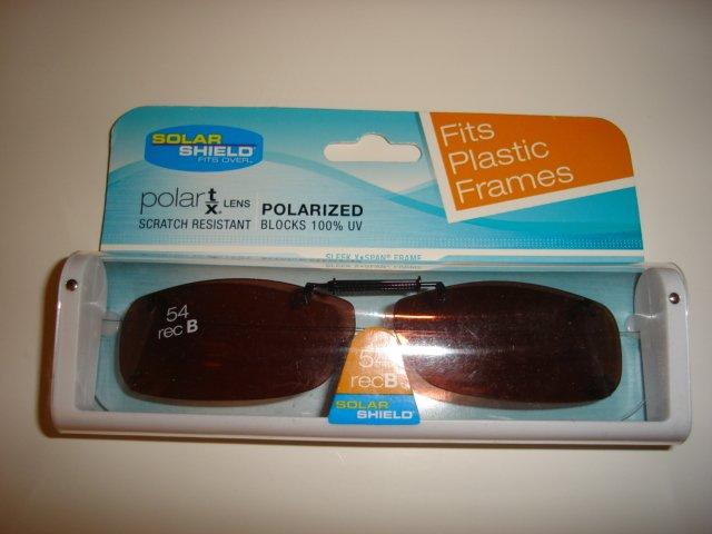 Sunglasses 54 rec B  Polarized Solar Shield  Clip Ons. NEW