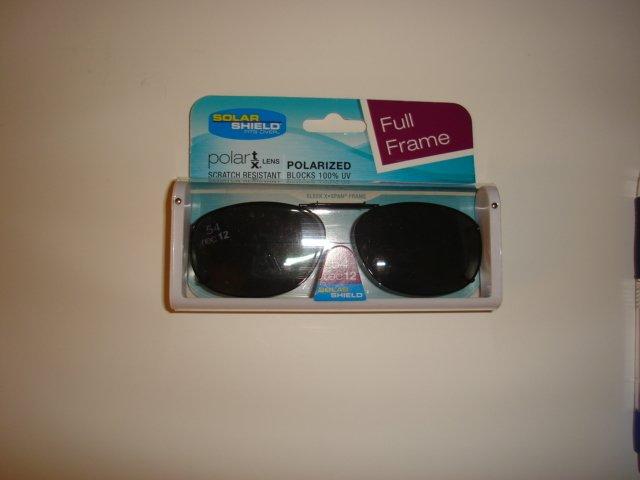 Sunglasses 54 Rec 12 FF Gray Polarized Solar Shield  Clip Ons. NEW