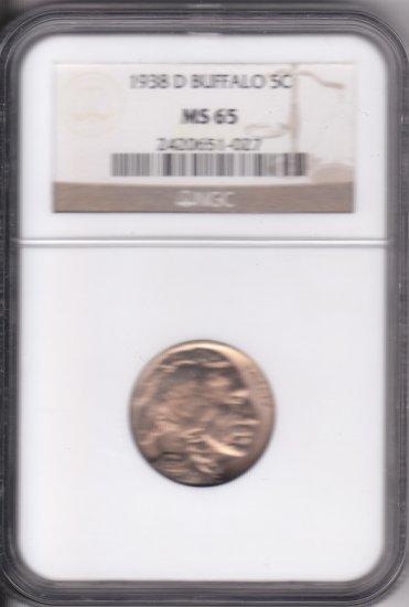 1938 D Buffalo Nickel NGC MS65