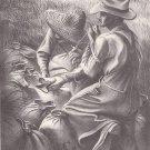 Vintage 1939 Joe Jones Print / Book Plate Missouri Farm
